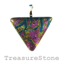 Pendant, dichroic glass, 30mm triangle. Sold individually.