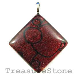 Pendant, dichroic glass, 42mm dismond. Sold individually.