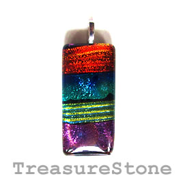 Pendant, dichroic glass, 22x45mm. Sold individually.