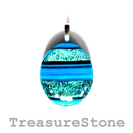 Pendant, dichroic glass, 25x29mm. Sold individually.