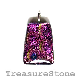 Pendant, dichroic glass, 29x39mm. Sold individually.