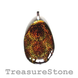Pendant, dichroic glass, 29x42mm. Sold individually.