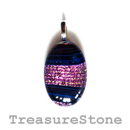 Pendant, dichroic glass, 20x30mm. Sold individually.