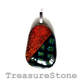 Pendant, dichroic glass, 23x33mm. Sold individually.