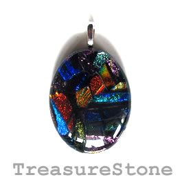 Pendant, dichroic glass, 30x40mm. Sold individually.