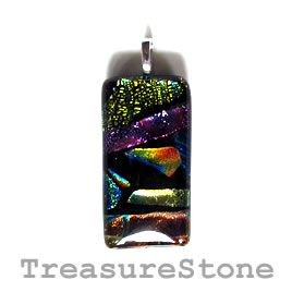 Pendant, dichroic glass, 22x42mm. Sold individually.