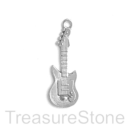 Pendant, silver-plated, 10x27mm electric guitar. Pkg of 9.