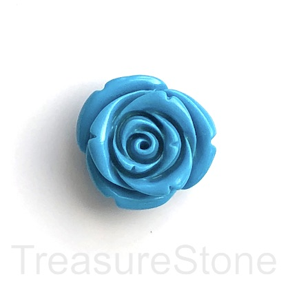 Charm, Pendant, coral (dyed), blue, 25mm carved flower. ea