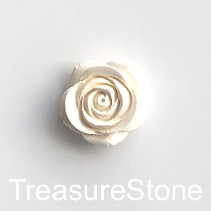 Charm, Pendant, coral, cream, 25mm carved flower. each.