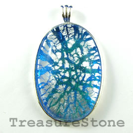 Pendant, glass, 33x48mm oval. Sold individually.
