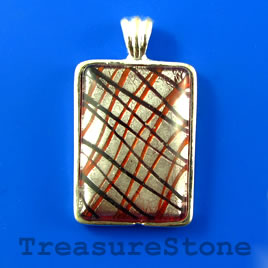 Pendant, glass, 23x33mm rectangle. Sold individually.