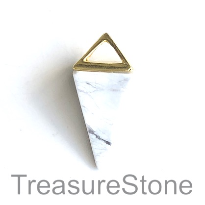 Pendant, howlite, gold coloured top, 14x34mm Pyramid. Each