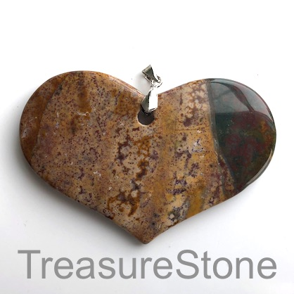 Pendant, Jasper, 48x67mm heart. Each.
