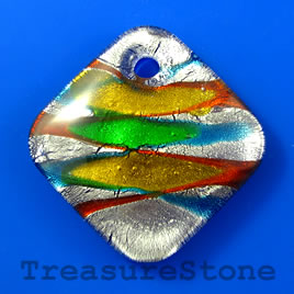 Pendant, lampwork glass, 50mm diamond. Sold individually.