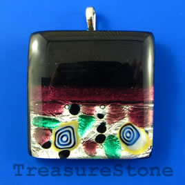 Pendant, lampwork glass, 37mm square. Sold individually.