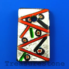Pendant, lampwork glass, 28x47mm rectangle. Sold individually.