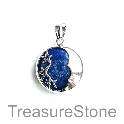 Charm/ Pendant, lapis lazuli, dyed, 22mm moon, star. Each.