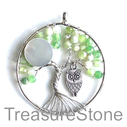 Pendant, lime green agate (dyed). 46mm Tree of Life with owl. Ea