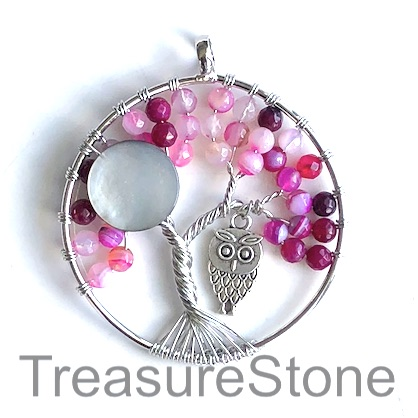 Pendant, pink agate (dyed). 46mm Tree of Life with owl. Each