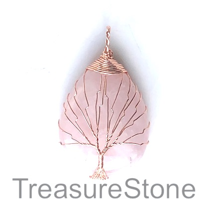 Pendant, rose quartz. 30x40mm Tree of Life. Sold individually.