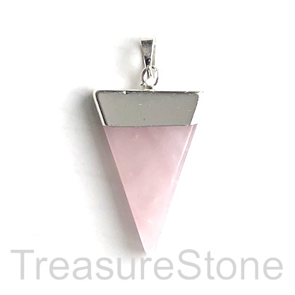 Pendant, rose quartz, 25x30 triangle, silver. Sold individually.