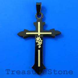 Pendant, black stainless steel, 37x47mm cross. Sold individually