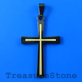 Pendant, black stainless steel, 27x40mm cross. Sold individually