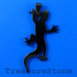Pendant, black stainless steel,27x50mm lizard. Sold individually