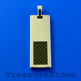 Pendant, stainless steel, 13x35mm rectangle. Sold individually.