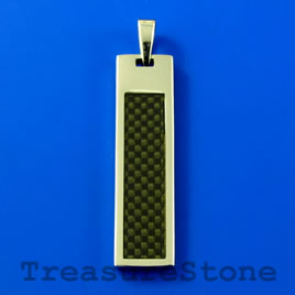 Pendant, stainless steel, 10x37mm rectangle. Sold individually.