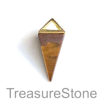 Pendant, tigers eye, gold coloured top, 14x34mm Pyramid. Each