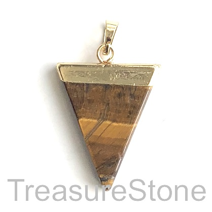 Pendant, tigers eye, 25x31 triangle, gold. Sold individually.