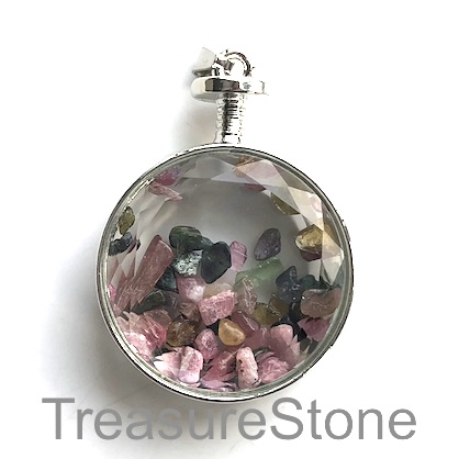 Pendant, tourmaline chips, 33mm. Sold individually.