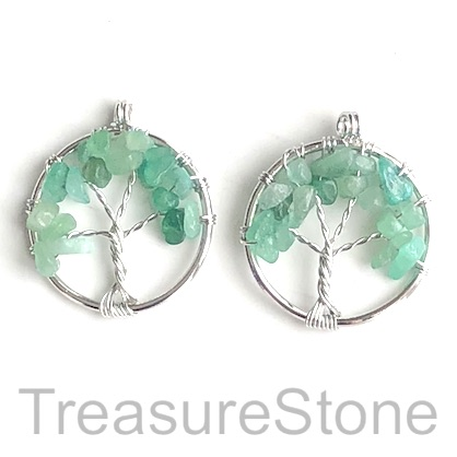 Charm, Pendant, green aventurine. 30mm Tree of Life. Pack of 2