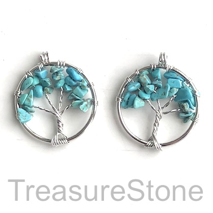 Charm, Pendant, dyed turquoise. 30mm Tree of Life. Pack of 2