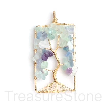 Pendant, fluorite, gold wired. 31x53mm tree of life. Each.