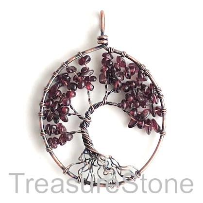 Pendant, garnet. 48x54mm Tree of Life. Sold individually.