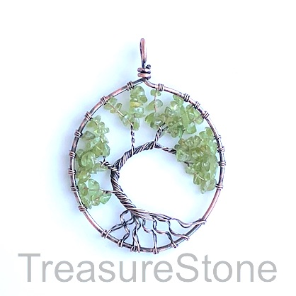 Pendant, peridot. 48x54mm Tree of Life. Sold individually.