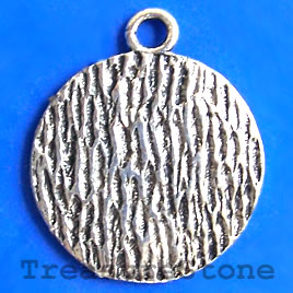 Pendant/charm, silver-finished, 26mm. Pk of 2.