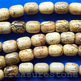 Bead, picture jasper, 8x10mm drum, 16 inch strand.