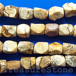 Bead, picture jasper, 8x15mm faceted nugget. 16 inch, 29pcs