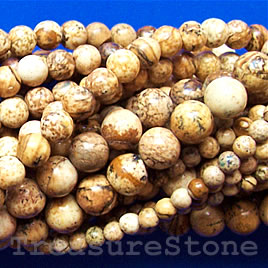Bead, picture jasper, 8 mm round. 15.5 inch, 47pcs