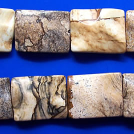 Bead, picture jasper, 15x20mm wavy rectangle. 16 inch strand.