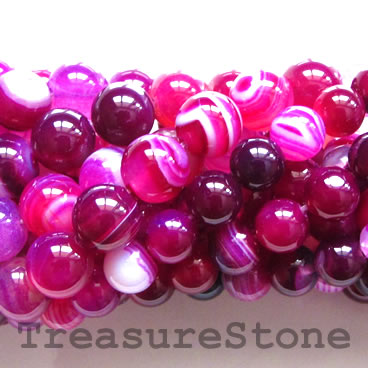 Bead, pink agate (dyed), grade B, 10mm round. 15-inch, 38pcs