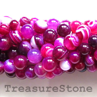 Bead, pink, fuschia, agate, dyed, 8mm round. 15-inch, 48pcs.