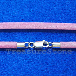 Cord, pink w sterling silver clasp, connector, 18 inch