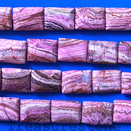 Bead, crazy lace agate (dyed), 15x20mm flat rectangle.15 inch.