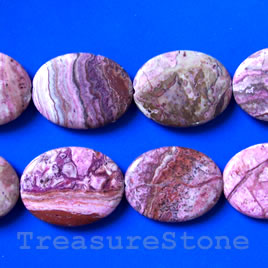 Bead, crazy lace agate (dyed), 30x40mm oval. 10pcs.