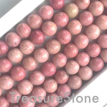 Bead, Rhodonite, 8mm round, grade A-. 15.5 inch strand. 48 pcs
