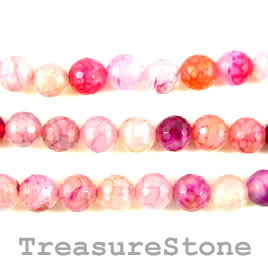 Bead, agate (dyed), pink, 10mm faceted round. 15.5-inch